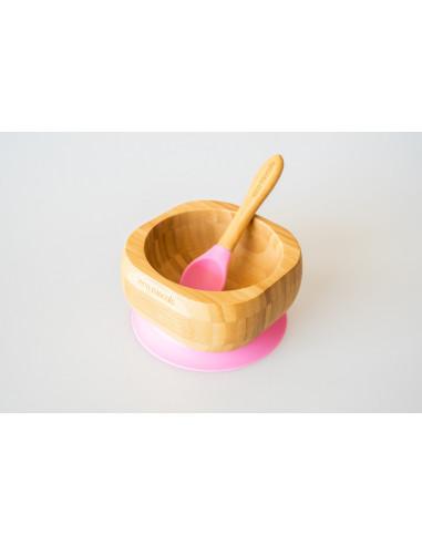 Bol más cuchara de bambu con ventosa