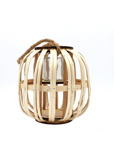 Portavelas natural de bambú.