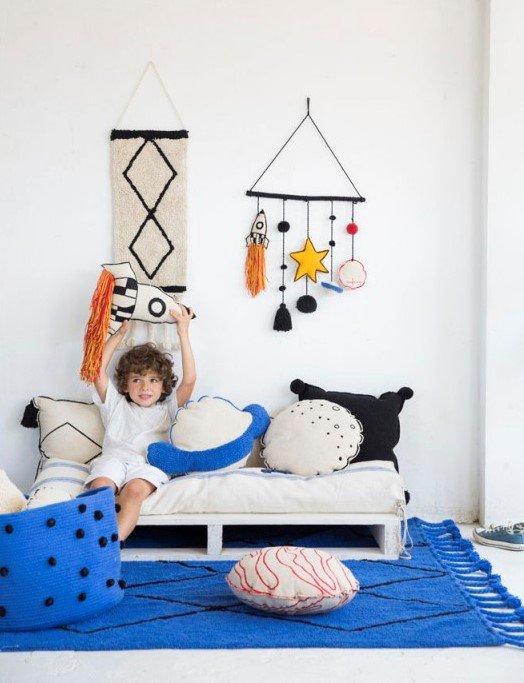 alfombra lavable azul